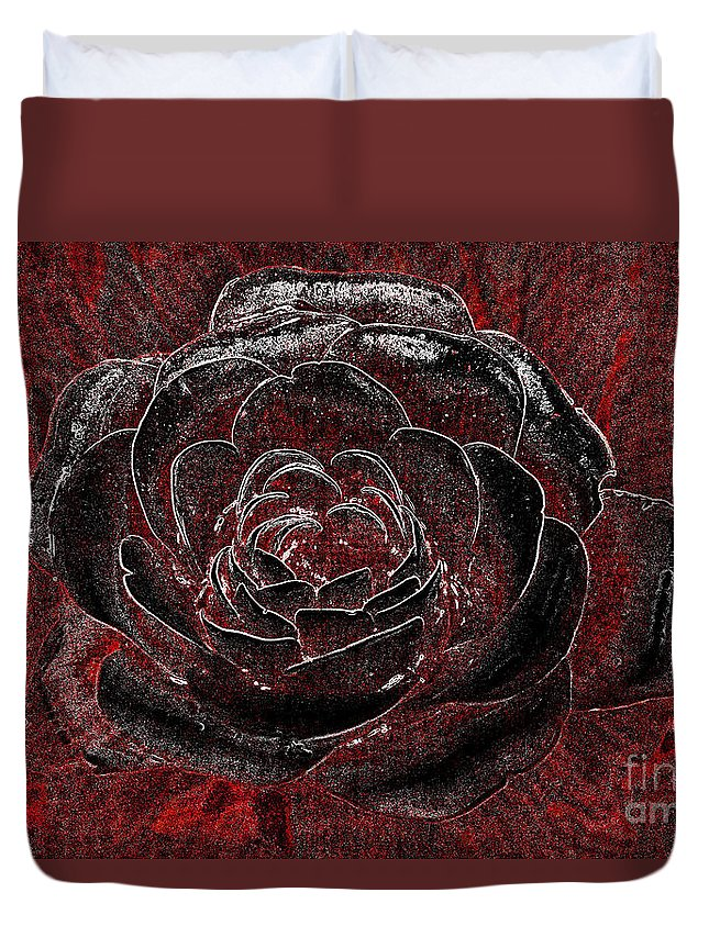 Roses Duvet Cover featuring the tapestry - textile Pretty In Red by Edna Weber