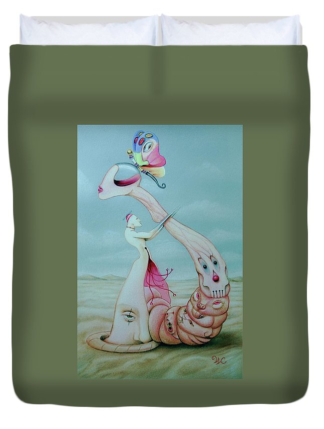 Pop Art Duvet Cover featuring the mixed media Pretty Noose--the Choking Halo by Will Crane