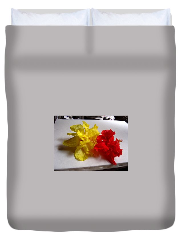 Pretty Duvet Cover featuring the photograph Pretty Pair - Double Hibiscuss by Usha Shantharam