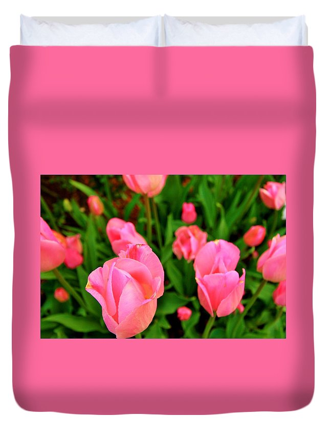 Pink Duvet Cover featuring the photograph Pretty Pink by Catie Canetti