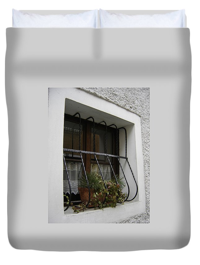 Window Duvet Cover featuring the photograph Pretty Window by Mary Rogers