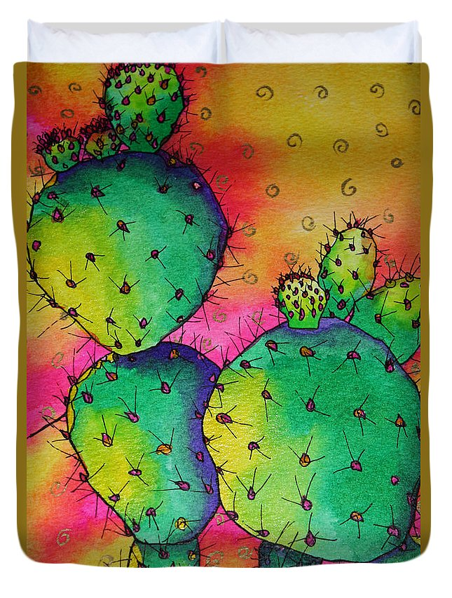 Desert Cactus Duvet Cover featuring the painting Prickly Heat by Helen Weston