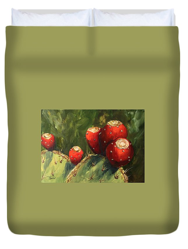 Prickly Pear Duvet Cover featuring the painting Prickly Pear III by Torrie Smiley