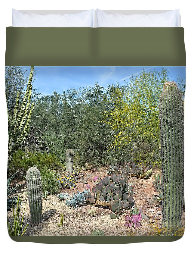 Desert Duvet Cover featuring the photograph Prickly Pearadise by Aimee L Maher ALM GALLERY