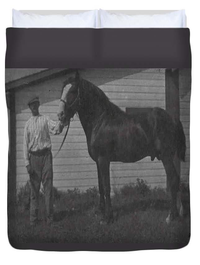 Old Photo Black And White Classic Saskatchewan Pioneers History Horse Clyde Sire Duvet Cover featuring the photograph Pride And Joy by Andrea Lawrence