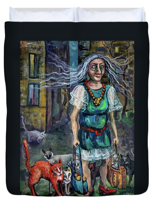 Leader Duvet Cover featuring the painting Pride Leader by Elisheva Nesis