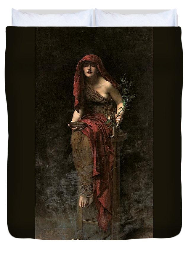 Portrait Duvet Cover featuring the painting Priestess Of Delphi by John Collier