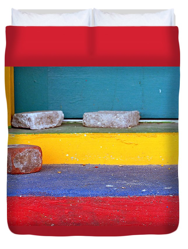 Red Duvet Cover featuring the photograph Primary Colored Doorstep by John Harmon
