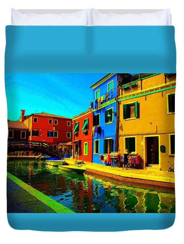 Burano Duvet Cover featuring the pastel Primary Colors 2 by Donna Corless