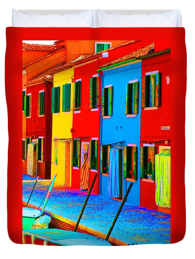 Burano Duvet Cover featuring the photograph Primary Colors Of Burano by Donna Corless