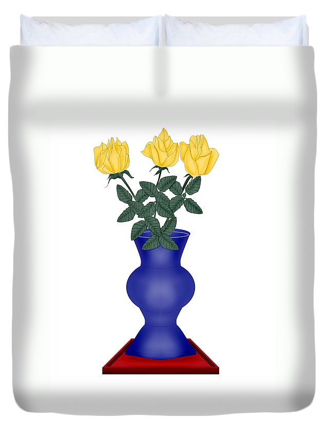 Blue Vase Duvet Cover featuring the painting Primary Colors by Anne Norskog