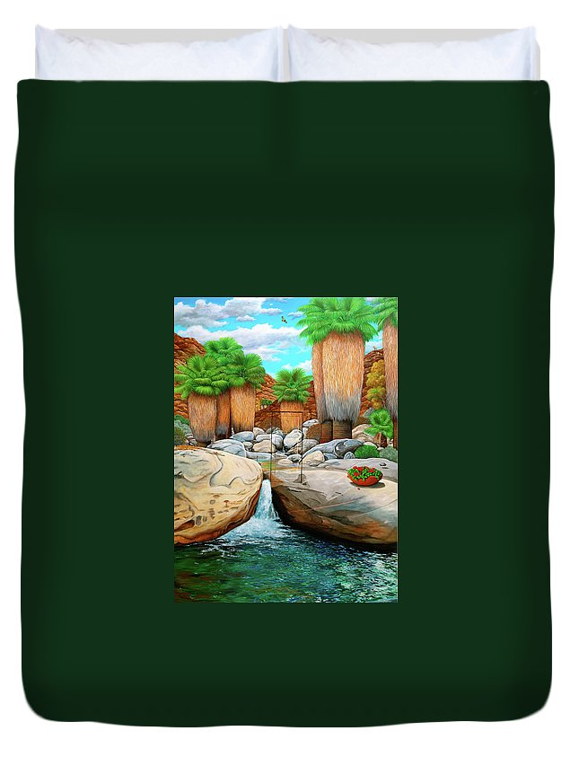Landscape Duvet Cover featuring the painting Primary Escape Route by Snake Jagger