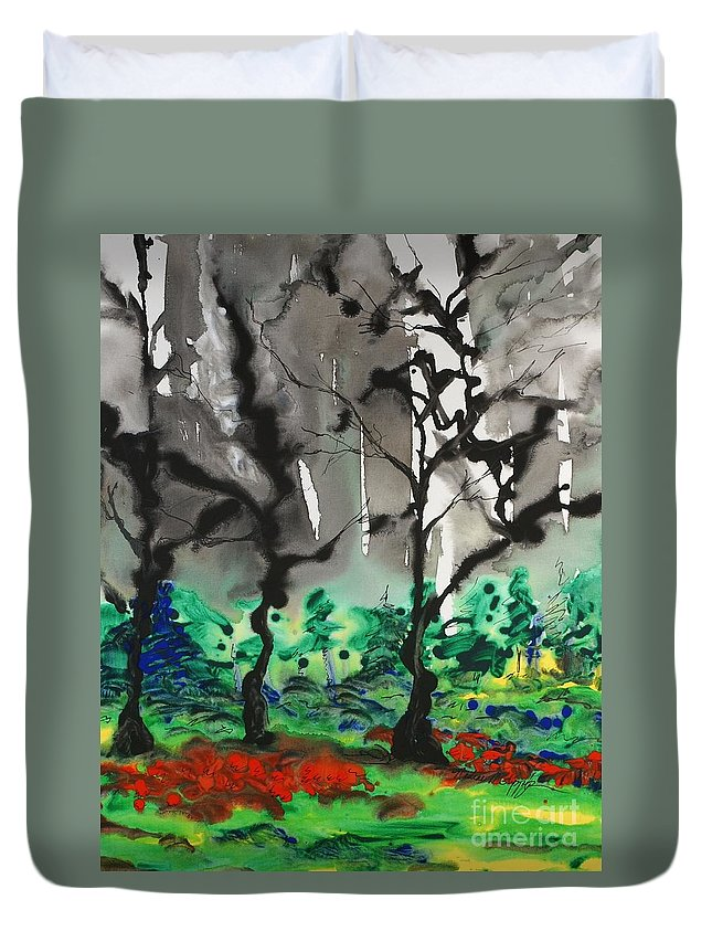 Forest Duvet Cover featuring the painting Primary Forest by Nadine Rippelmeyer
