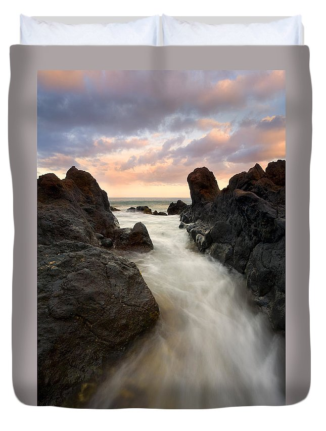Sunrise Duvet Cover featuring the photograph Primordial Tides by Mike Dawson