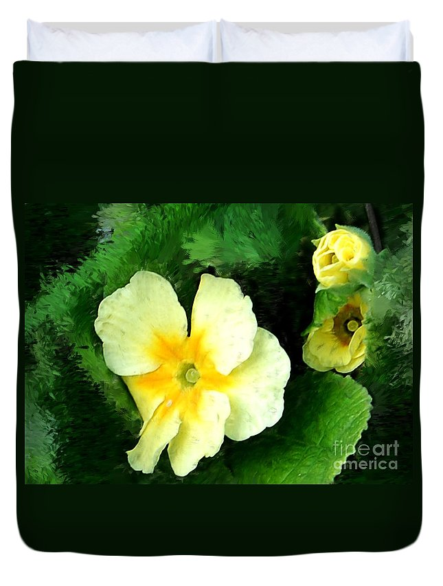 Digital Photograph Duvet Cover featuring the photograph Primrose 2 by David Lane