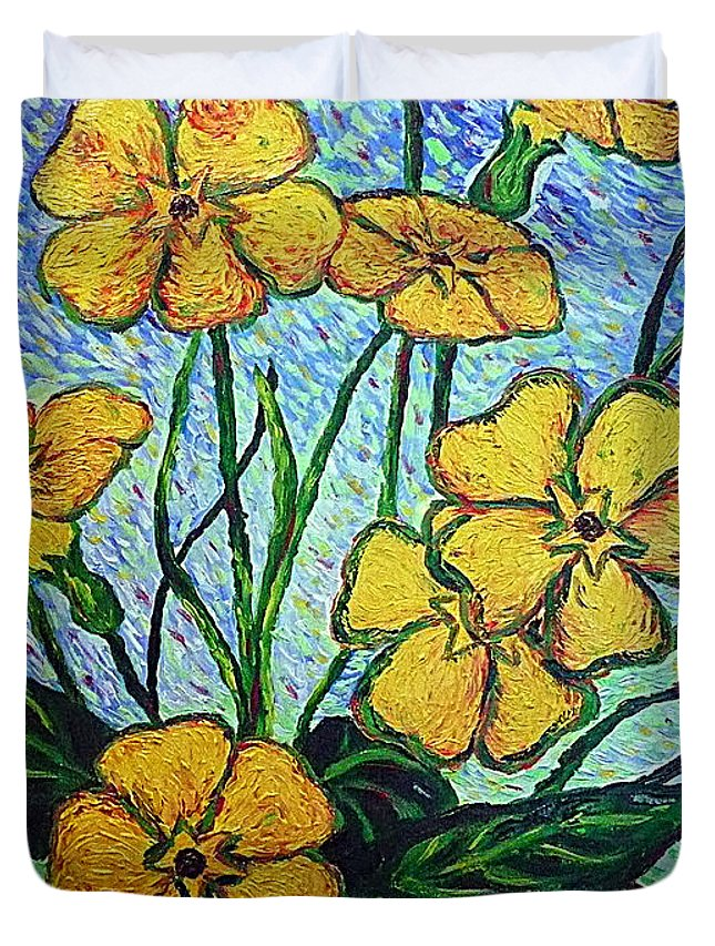 Flowers Duvet Cover featuring the painting Primula Veris by Ericka Herazo