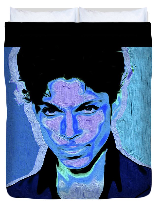 Prince Rogers Nelson Duvet Cover featuring the painting Prince #66 Nixo by Supreme Inc