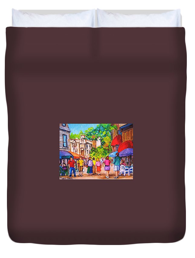 Rue Prince Arthur Montreal Street Scenes Duvet Cover featuring the painting Prince Arthur Street Montreal by Carole Spandau
