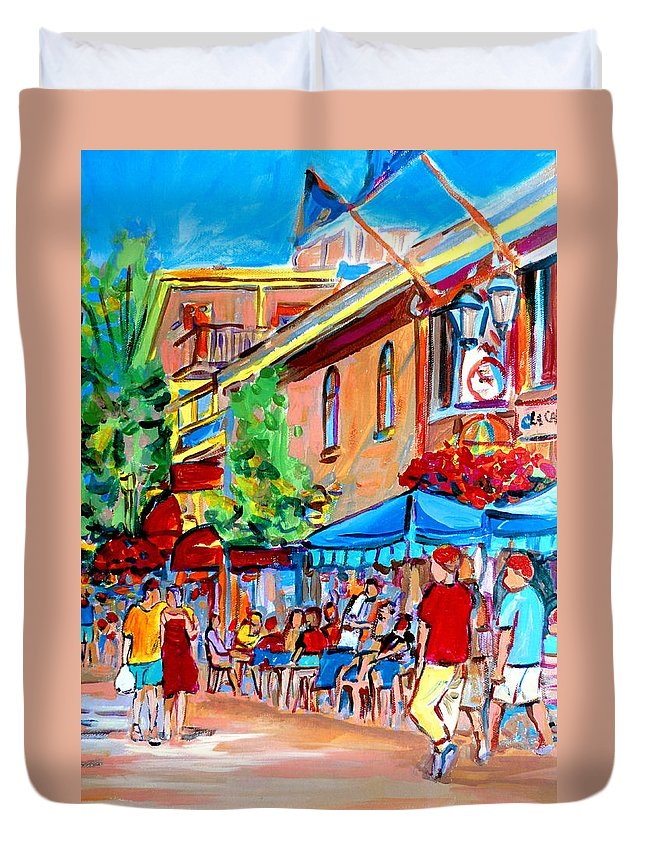 Cafes Duvet Cover featuring the painting Prince Arthur Street Summer by Carole Spandau