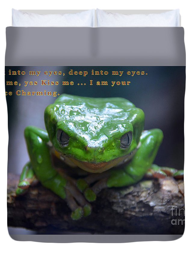 Tree Frog Duvet Cover featuring the tapestry - textile Prince Charming by Edna Weber