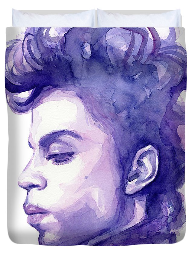 Watercolor Duvet Cover featuring the painting Prince Musician Watercolor Portrait by Olga Shvartsur