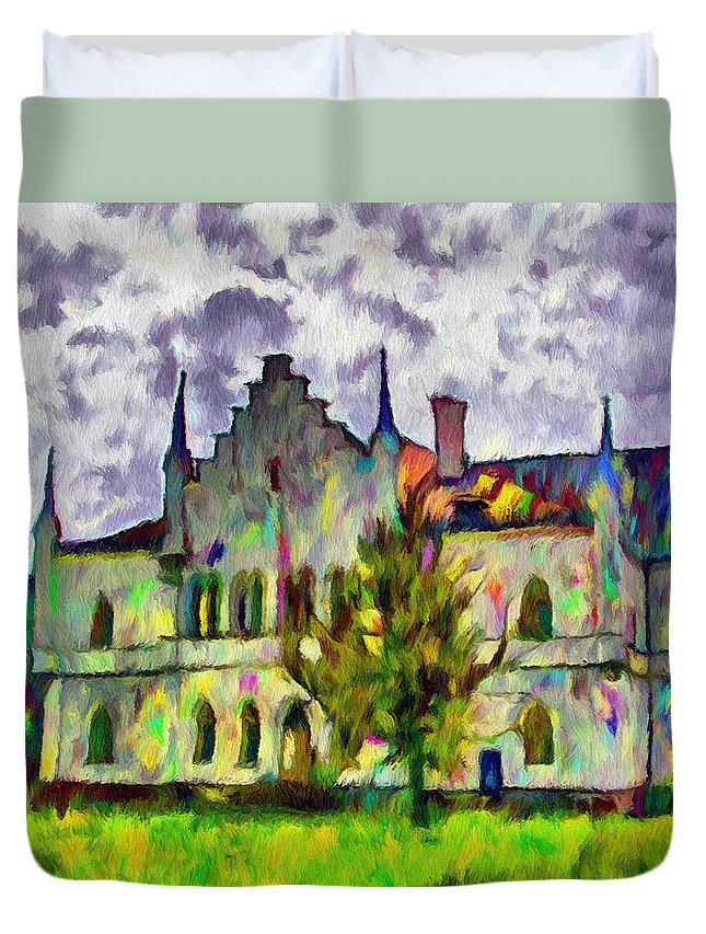 Wallachia Duvet Cover featuring the painting Princely Palace by Jeffrey Kolker