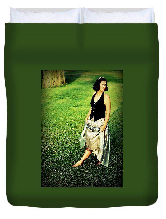 Woman Duvet Cover featuring the photograph Princess Along The Grass by Charles Benavidez