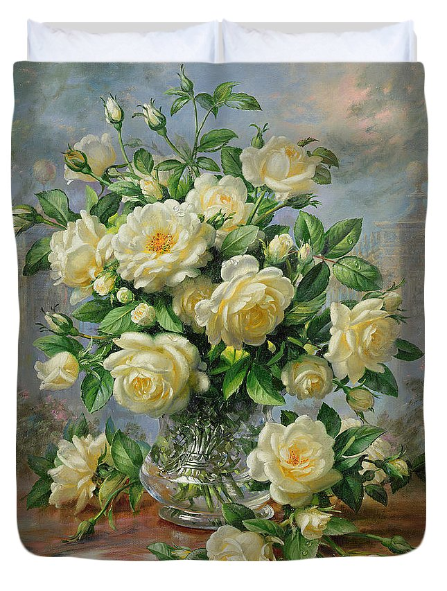 In Honour Of Lady Diana Spencer (1961-97); Still Life; Flower; Rose; Arrangement; Princess Of Wales (1981-96); Homage; Yellow; Flowers; Leafs Duvet Cover featuring the painting Princess Diana Roses in a Cut Glass Vase by Albert Williams