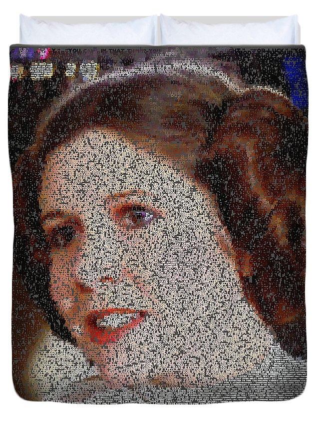 Princess Leia Quotes Mosaic Duvet Cover