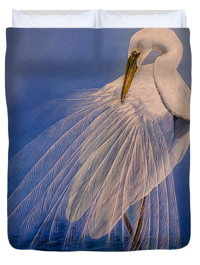 Egret Duvet Cover featuring the painting Princess Of The Mist by Zina Stromberg