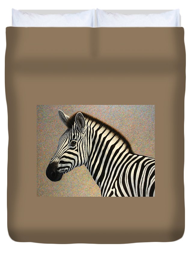 Zebra Duvet Cover featuring the painting Principled by James W Johnson