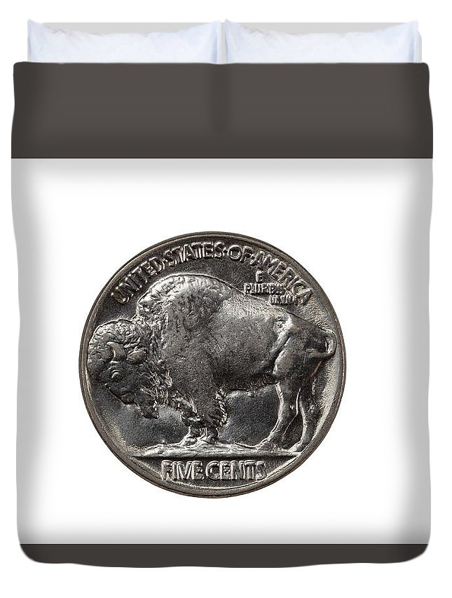 Nickel Duvet Cover featuring the photograph Pristine Buffalo Nickel On White Background by Thomas Baker