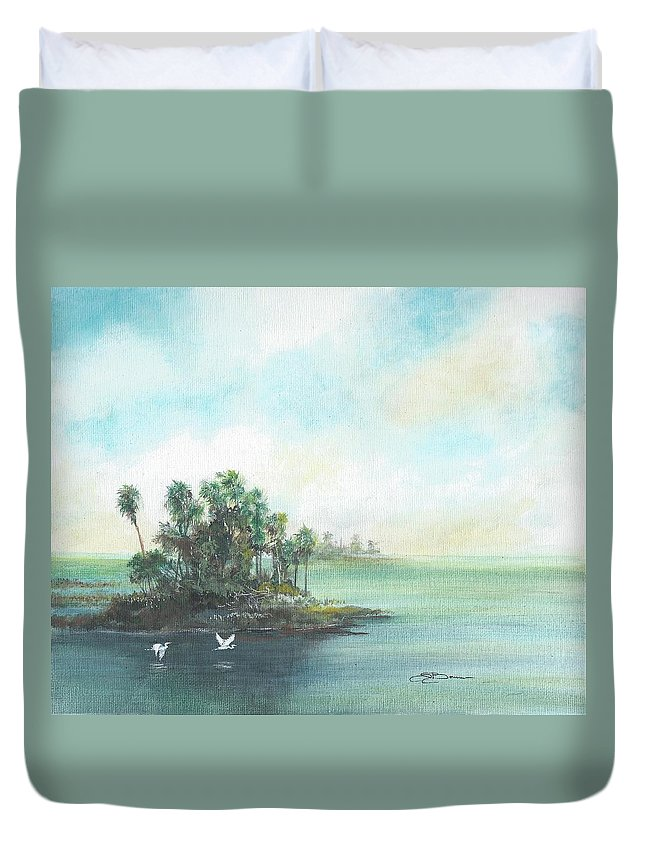Gulf Duvet Cover featuring the painting Private Island by Sharon Bowman