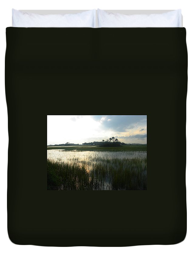 Photography Duvet Cover featuring the photograph Private Palm Island by Susanne Van Hulst