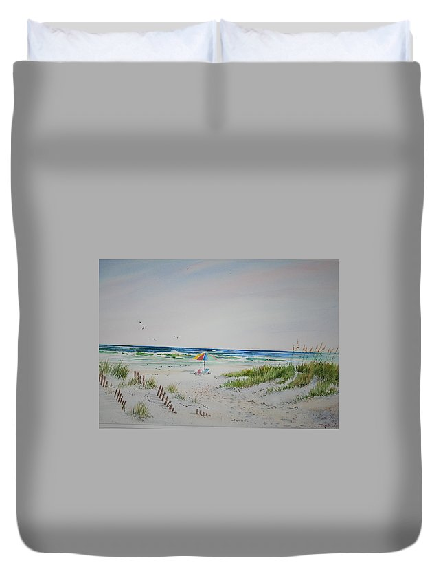 Sea Scape Duvet Cover featuring the painting Private Spot by Tom Harris