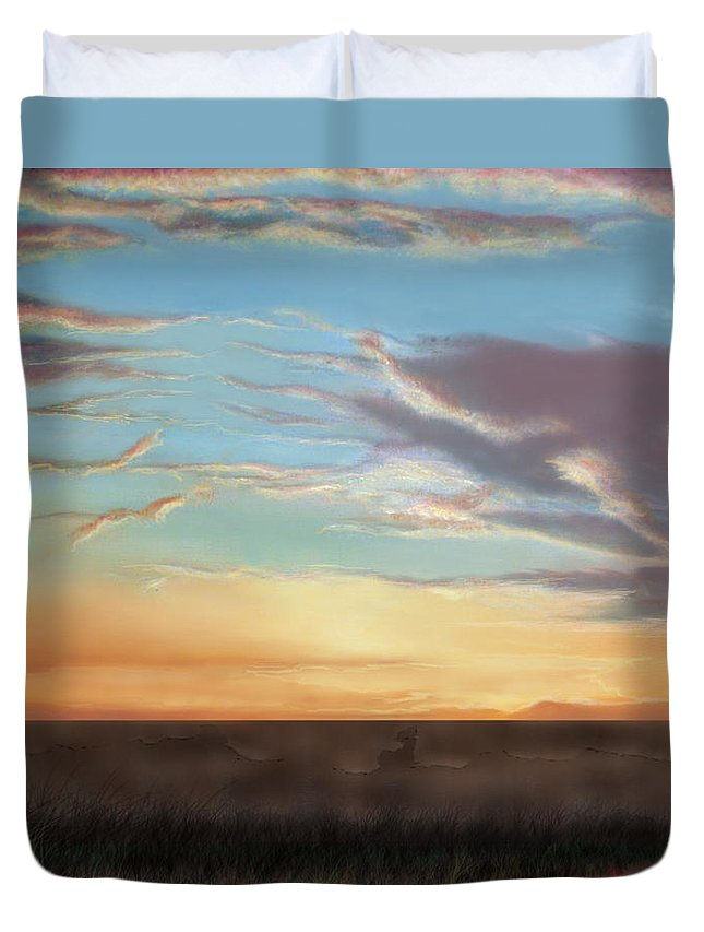 Surrealism Duvet Cover featuring the painting Private Sunrise. Keep Out by Albert Puskaric