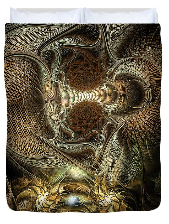 Abstract Duvet Cover featuring the digital art Probing Deception by Casey Kotas
