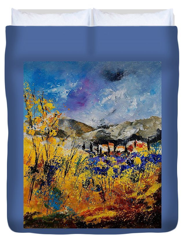 Poppies Artwork Duvet Cover featuring the painting Procence 569011 by Pol Ledent