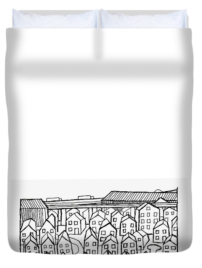 Suburbia Duvet Cover featuring the drawing Proche Banlieue by Andy Mercer