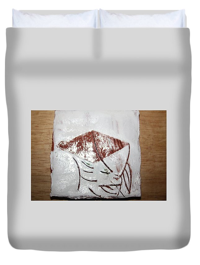 Jesus Duvet Cover featuring the ceramic art Prof - Tile by Gloria Ssali