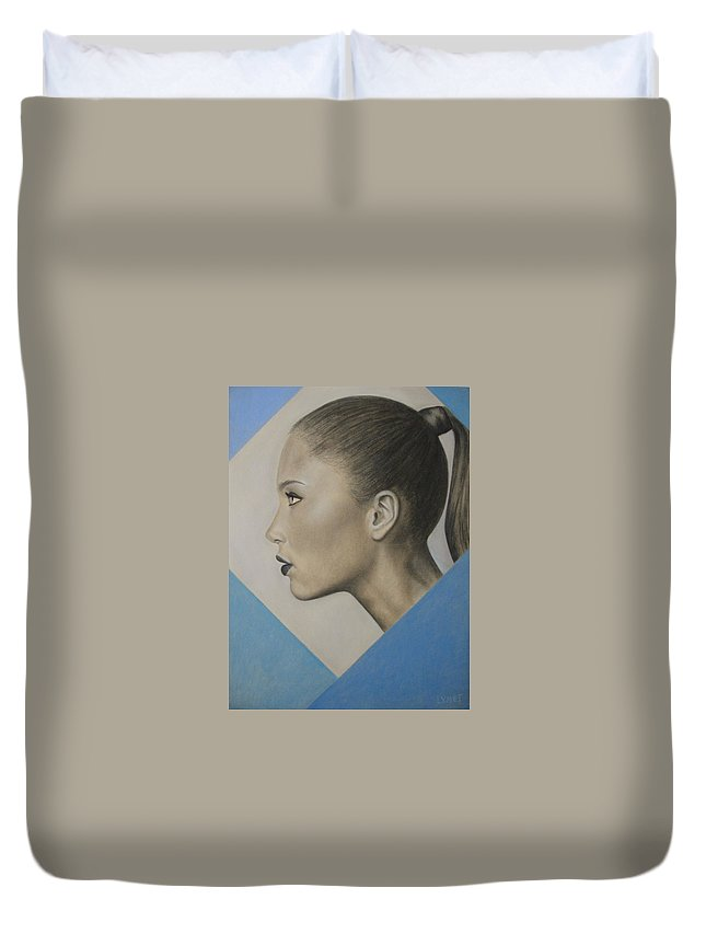 Woman Duvet Cover featuring the painting Profile by Lynet McDonald
