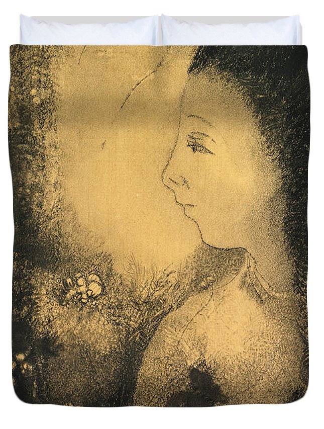 Odilon Redon Duvet Cover featuring the drawing Profile Of A Woman With Flowers by Odilon Redon