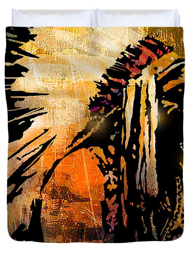 Native American Duvet Cover featuring the painting Profile of Pride by Paul Sachtleben