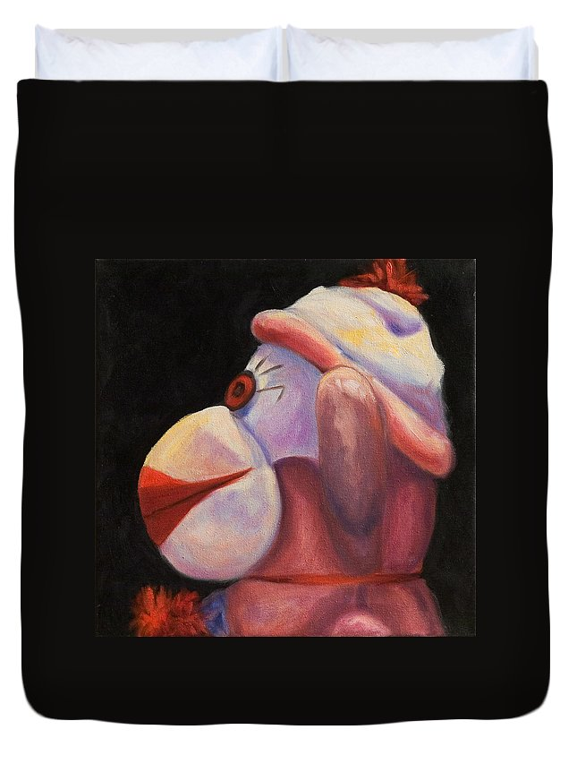 Monkey Duvet Cover featuring the painting Profile by Shannon Grissom