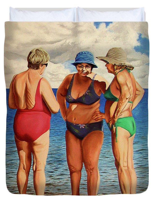 Woman Duvet Cover featuring the painting Profound Matters - Asuntos Profundos by Rezzan Erguvan-Onal