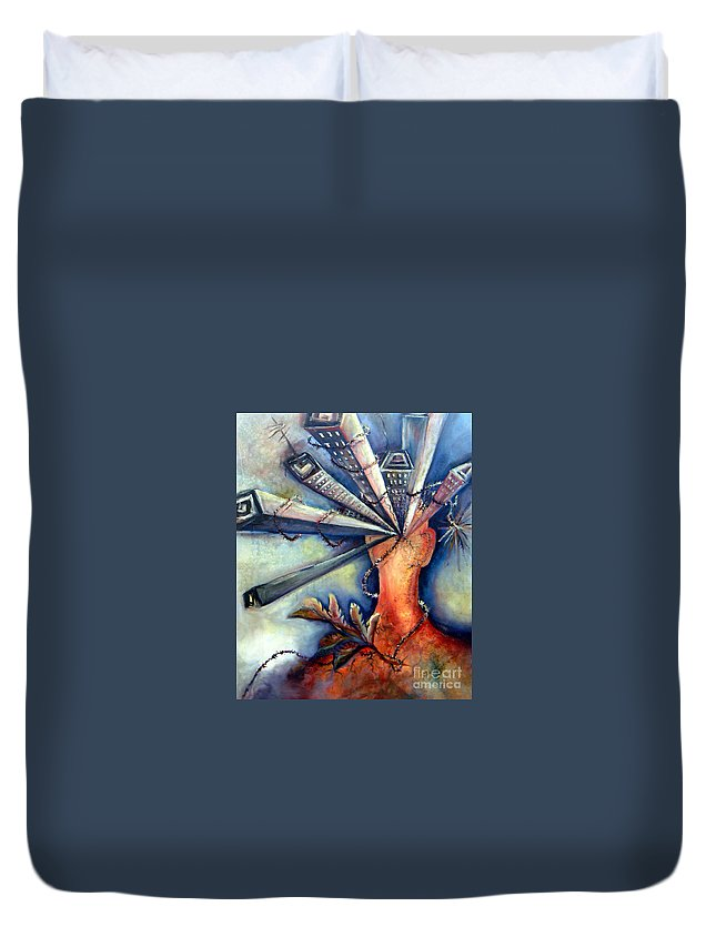Semi Abstract Duvet Cover featuring the painting Progress Mess by Linda Shackelford