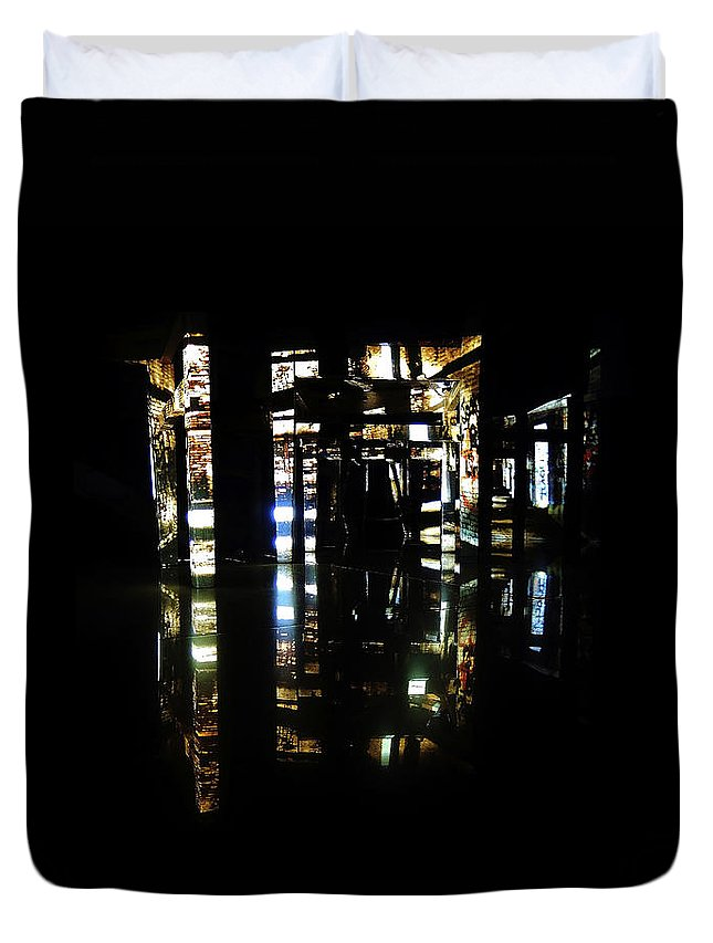 Projection Duvet Cover featuring the photograph Projection - City 1 by Conor O'Brien