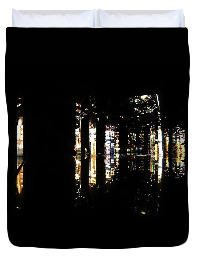 Projection Duvet Cover featuring the photograph Projection - City 3 by Conor O'Brien