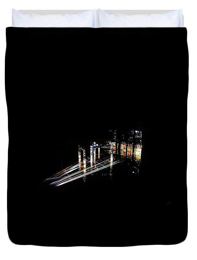 Projection Duvet Cover featuring the photograph Projection - City 6 by Conor O'Brien