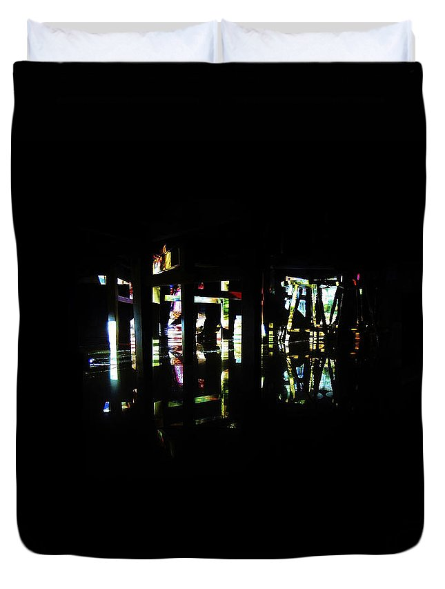 Projection Duvet Cover featuring the photograph Projection - City 7 by Conor O'Brien